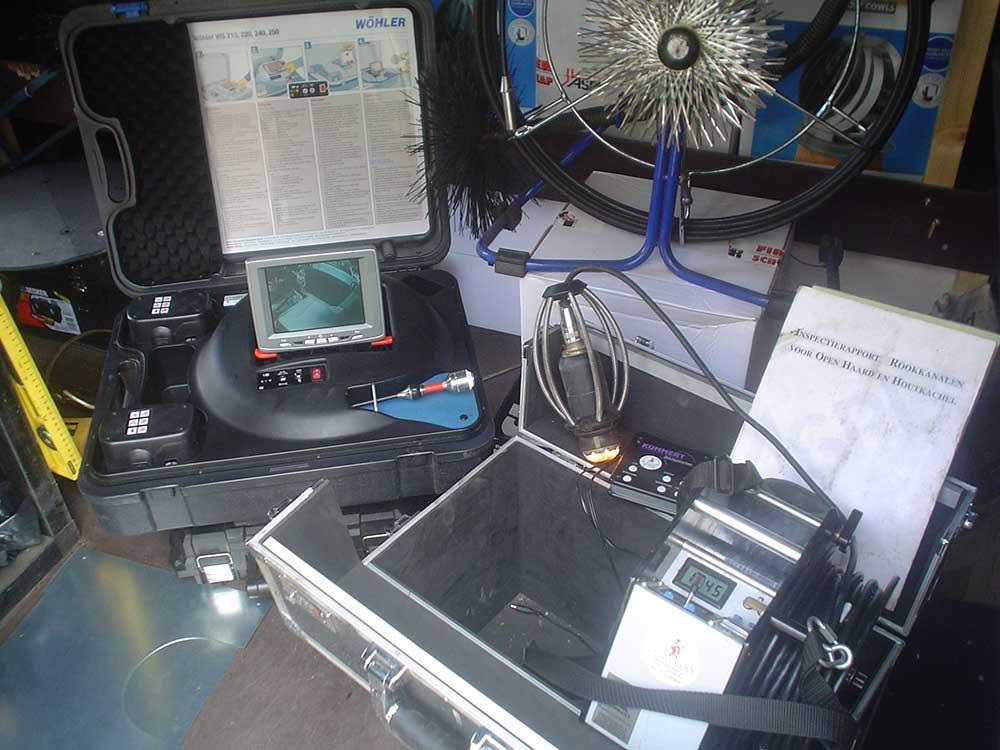 Camera inspectie van uw schoorsteen kanaal, rookkanaal
